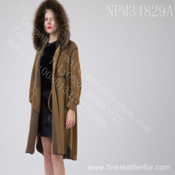 Spain Merino Shearling Overcoat With Motif For Women