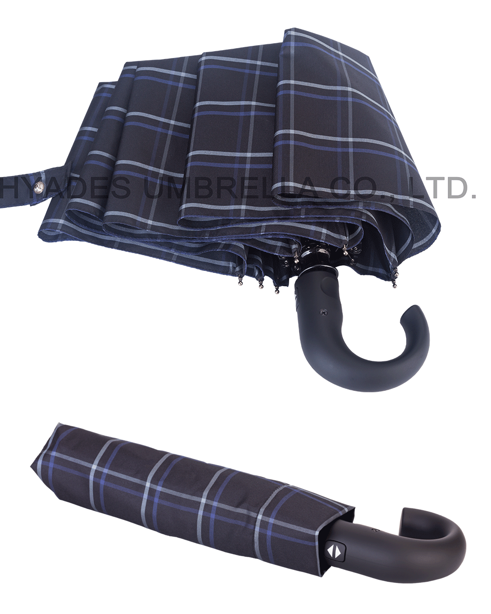 folding umbrella with curved handle
