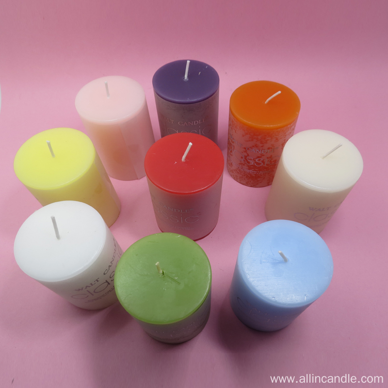 Dinner Use Pure Paraffin Wax Colorful Pillar Candle