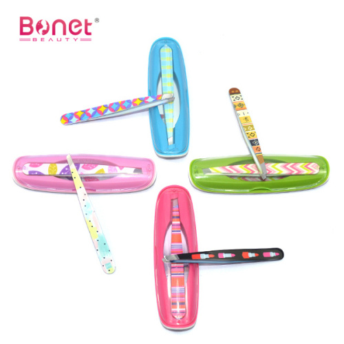 Cute Printing Tweezer with Mirror and Plastic Box
