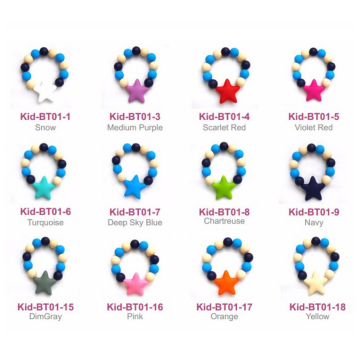 Fashion Round Beads Silicone Bracelet Baby Teething Bracelet