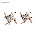 Latest Rose Gold Plated CZ Stone Stud Earrings