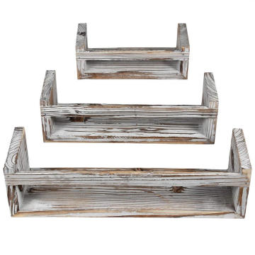 Rustic Wood Wall Shelves with 3 Square Boxes and 4 Small L Shelves