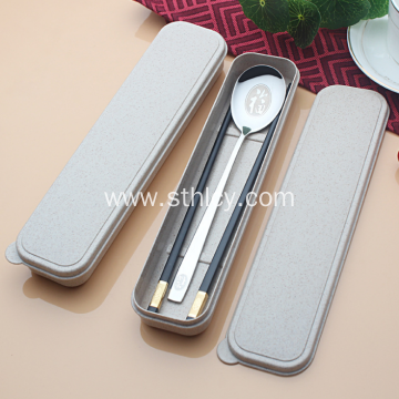 2-piece Stainless Steel Tableware Set Spoon Chopsticks