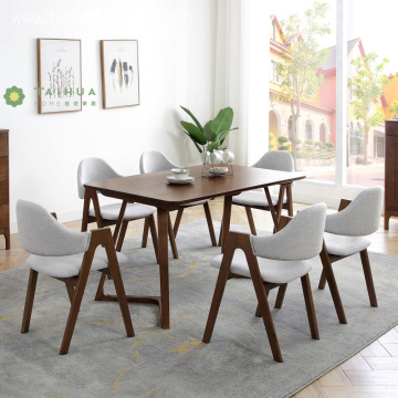 6 Seat Dark Rubber Wood Rectangular Table