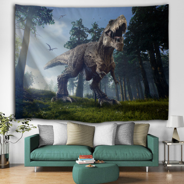 Dinosaur Tapestry Tyrannosaurus Wild Anicient Animals Wall Hanging Tropical Rain Forest Jungle Natural 3D Wall Blanket for Child