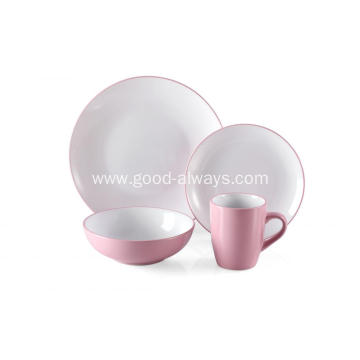 16 Piece Two Tone Color Dinner Set Pink