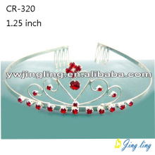 2018 Small Tiara Red Rhinestone Crown
