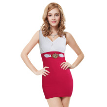 Sexy v-neck hip - hip and splicing club dress