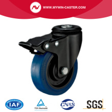 Bolt Hole Bule elastic rubber casters with total brake