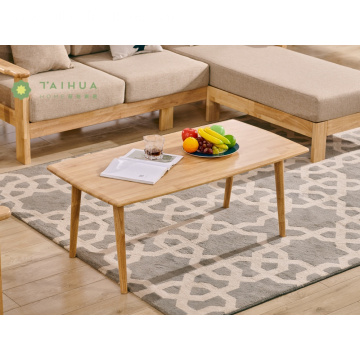 Light Brown Rectangular Coffee Table Solid Rubber Wood