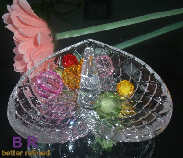 Heart Shaped Crystal Glass Ring Holders