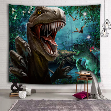 Roaring Dinosaur Tapestry Wild Anicient Animals Wall Hanging Rain Forest Jungle Wall Tapestry for Children Bedroom Living Room D