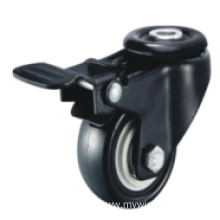 1.5 Inch Hollow Rivet Swivel PVC Material With Brake Small Caster