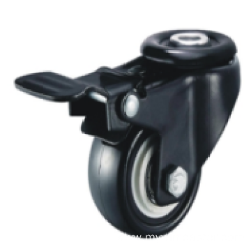 5 Inch Hollow Rivet Swivel PU Material With Brake Small Caster