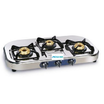 SS Gas Stove With 3 Brass Burners
