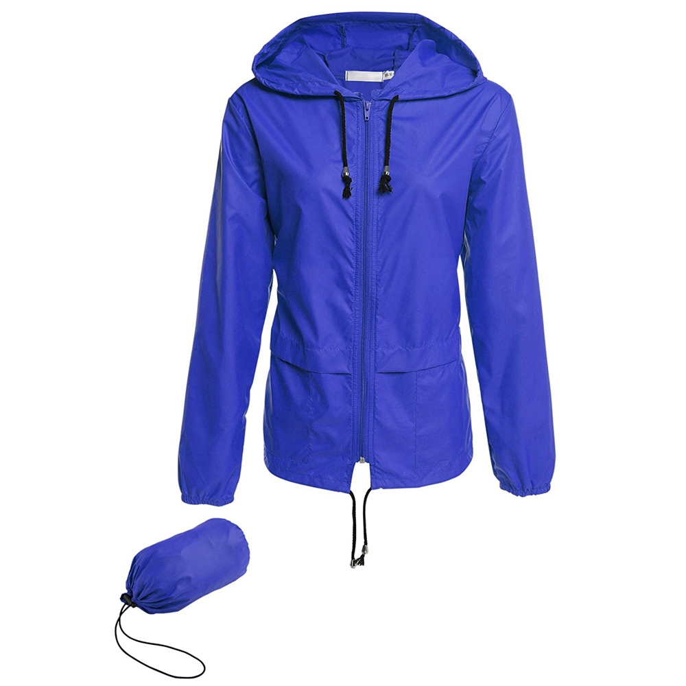 Women's Lightweight Rain Jacket Packable Hooded Raincoat