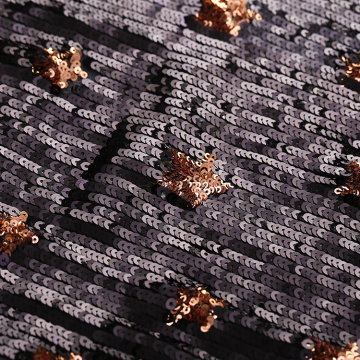Black Gold Heavy Sequins Embroidery Fabric