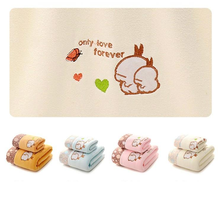 Towel bath towel set microfiber lace embroidery cartoon soft water absorption adult men and women (7)
