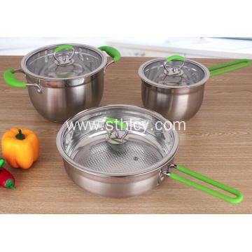 3-Piece Stainless Steel Cookware Set Glass Lids