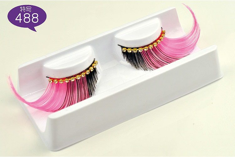 Colorful exaggerated false eyelashes with diamond