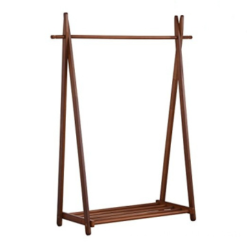 Large Free Standing Foldable Solid Wood Garment Coat Rack Clothes hanging with Bottom Shelf