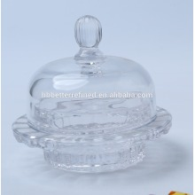 Vintage Crystal Glass Butter Jar