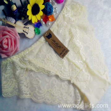 OEM wholesale China cheap light yellow sexy girl slimming lace cotton transparent fancy underwear 515