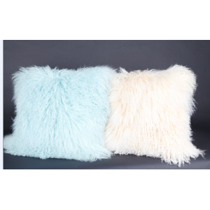 Long Curly Lamb Fur Pillow Dyed Colors