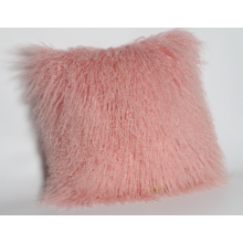 Mongolian Sheep Skin Fur Pillow in Pink Color