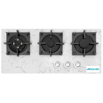 Panel Cooking White With A Marble Pattern Hob