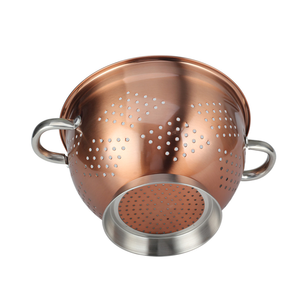 Copper Fruit Colander With Satin Polishing Ring Base