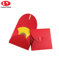 Custom red envelope with heart button for card