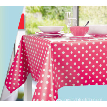 Dot Design Tablecloth With Non Woven Backing