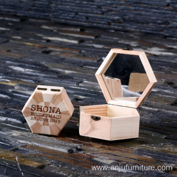 Personalised Wooden Hexagonal Keepsake Jewellery Trinket Boxes Gift for Women