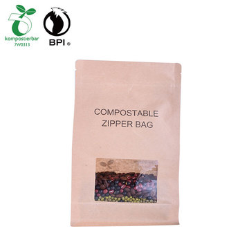 Factory Wholesale kraft paper coffee beans bag with clear window