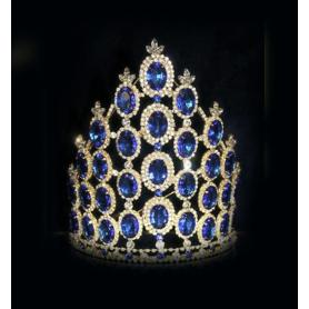 2018 Dark Blue Rhinestone Stone Tall Crown