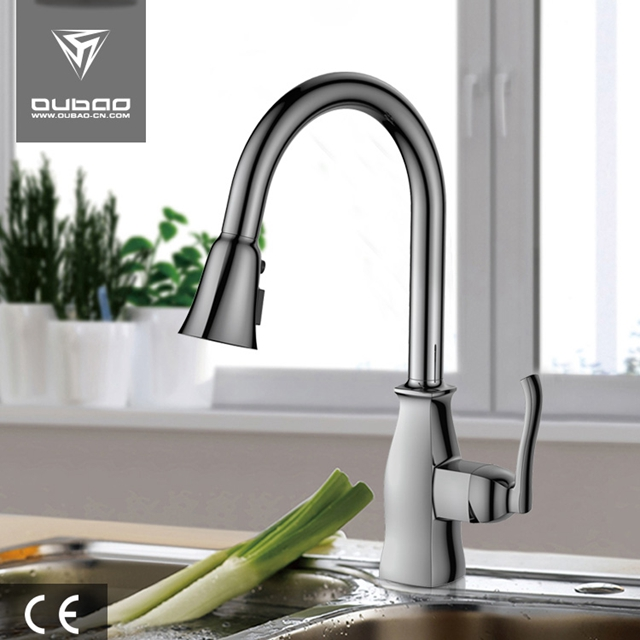 Brushed Nickel Deck Mount One Handle Kitchen Faucets