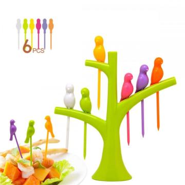 Birds Tree Cocktail Fruit Forks Knife Peeler Set