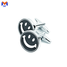 Metal new smile face cufflink back enamel black