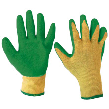 Yellow Cotton Work Gloves Dipped Green Latex