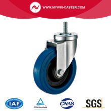 Threaded Stem Swivel Blue Elastic Rubber Caster
