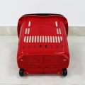 New PP plastic trolley baskets with 2 wheels