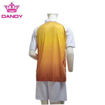 Orange Ombre Sublimated Mens T Shirt With Collar