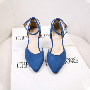 Women Suede Leather Middle Heel Pumps Shoes