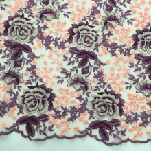 Factory made hot-sale for Nylon Lace Mesh Embroidery Fabric Multicolor Rose Blossom Design Embroidery Fabric supply to Senegal Supplier