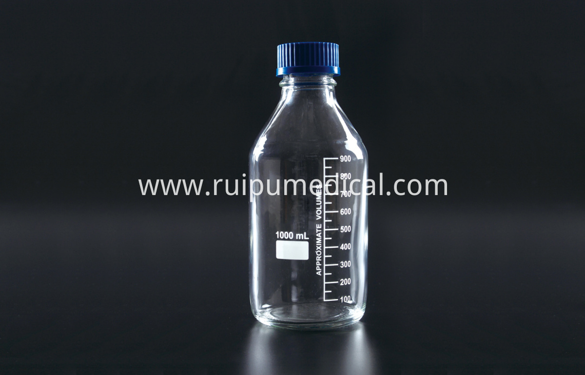 1408 Reagent Bottle (Media Bottle) with Plastic Blue Screw Cap,Clear