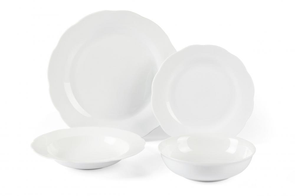 Round flower shape white AB grade dinnerware sets