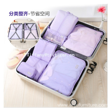 7pcs/set purple beige color In Stock Cheap Foldable Travel Luggage Organizer Bags nylon material