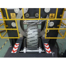 Motorcycle tire wrapping stretch film machine